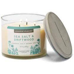 Candle-lite Essential Elements 3-Wick Scented Candle Glass Jar 14.75 oz 418 g - Sea Salt & Driftwood
