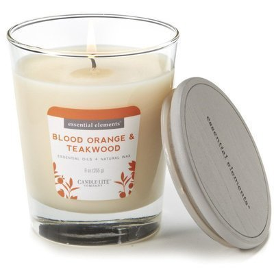 Candle-lite Essential Elements Glass Natural Scented Candle 9 oz 255 g - Orange & Teakwood