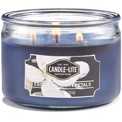 Candle-lite Everyday Collection 3 Wick Terrace Jar Glass Scented Candle 10 oz 283 g - Exotic Midnight Petals