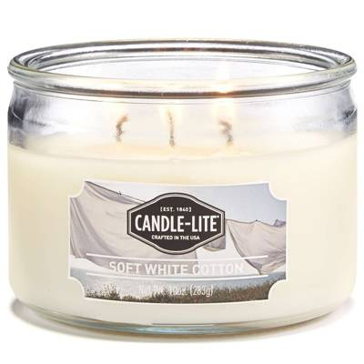 Candle-lite Everyday Collection 3 Wick Terrace Jar Glass Scented Candle 10 oz 283 g - Soft White Cotton