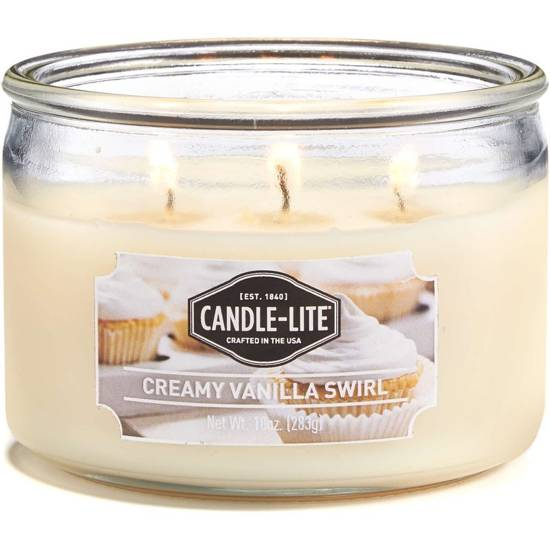 Candle-lite Everyday Collection 3-Wick Terrace Jar Glass Candle 10 oz świeca zapachowa w szkle z trzema knotami 82/105 mm 283 g ~ 40 h - Creamy Vanilla Swirl