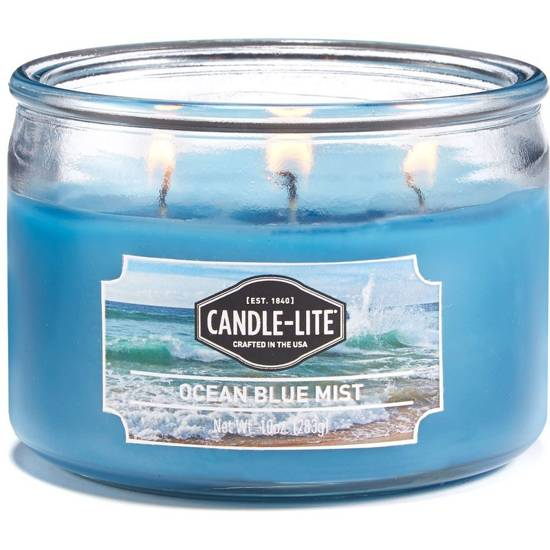 Candle-lite Everyday Collection 3-Wick Terrace Jar Glass Candle 10 oz świeca zapachowa w szkle z trzema knotami 82/105 mm 283 g ~ 40 h - Ocean Blue Mist