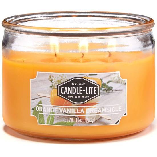 Candle-lite Everyday Collection 3-Wick Terrace Jar Glass Candle 10 oz świeca zapachowa w szkle z trzema knotami 82/105 mm 283 g ~ 40 h - Orange Vanilla Dreamsicle